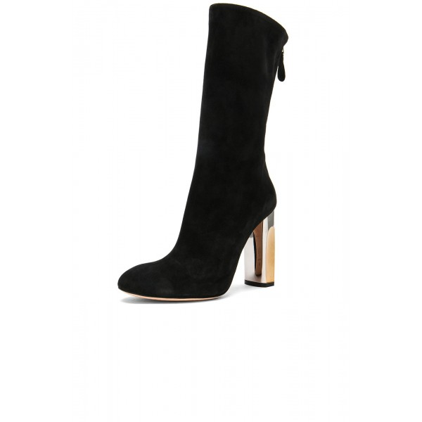 Black Chunky Heel Boots Mid Calf Boots image 1