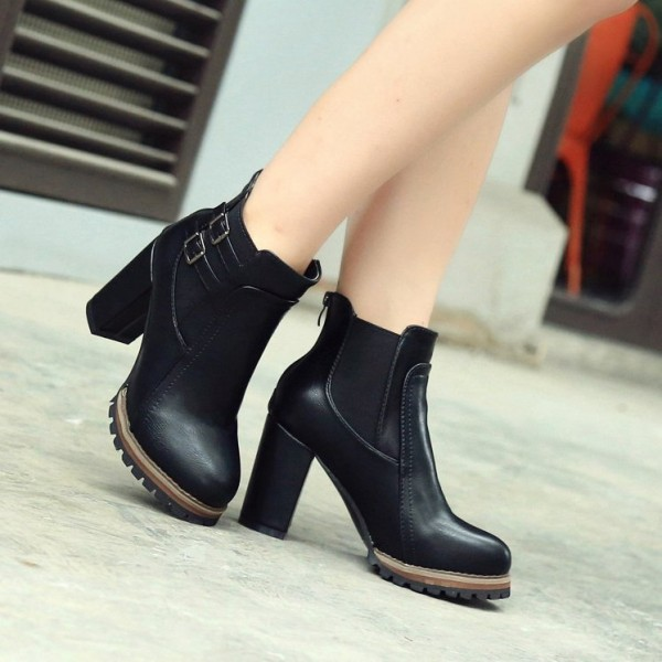 Black Chunky Heel Boots Round Toe Fashion Ankle Boots US Size 3-15 image 3
