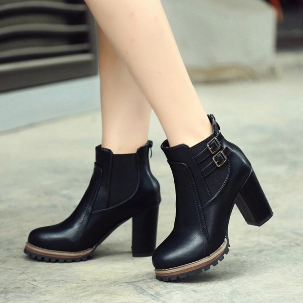 Black Chunky Heel Boots Round Toe Fashion Ankle Boots US Size 3-15 image 1