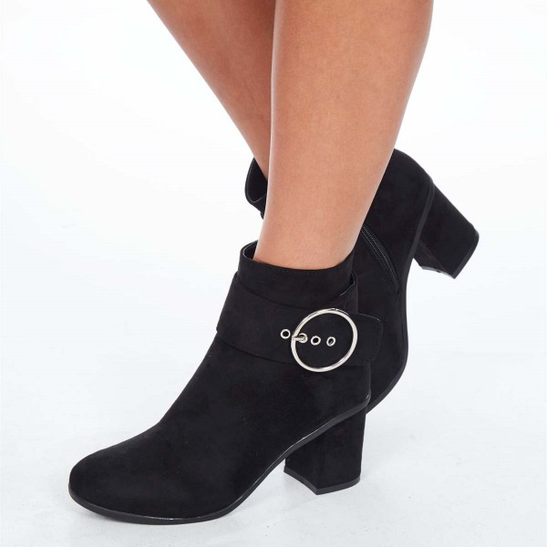 Black Chunky Heel Boots Suede Round Toe Buckle Ankle Booties image 1