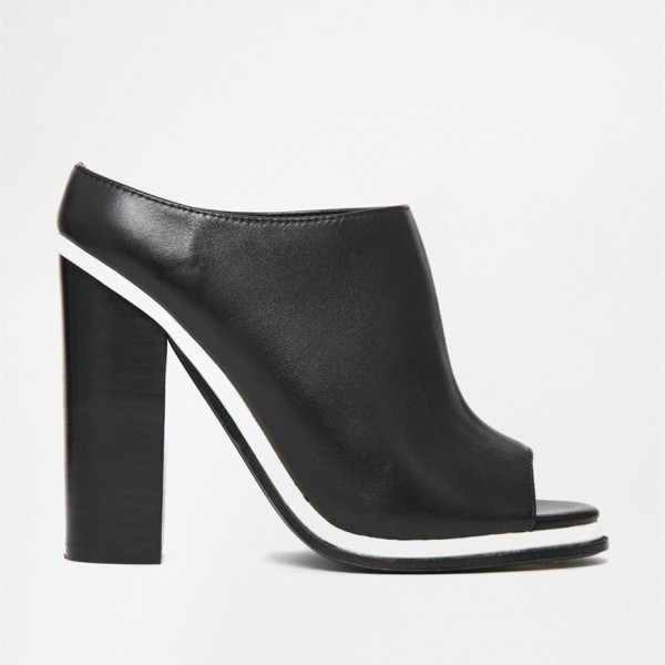 Black and White Mule Heels Peep Toe Chunky Heels for Office Lady image 2