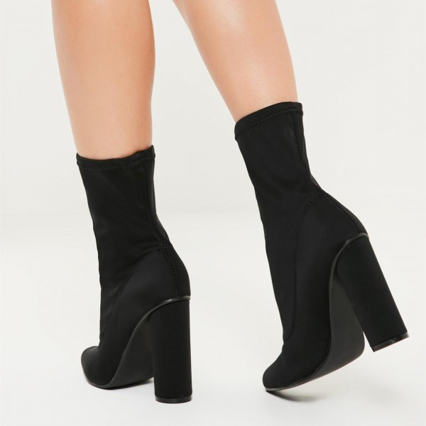 Black Lycra Sock Boots Cylindrical Heel Fashion Ankle Booties image 2