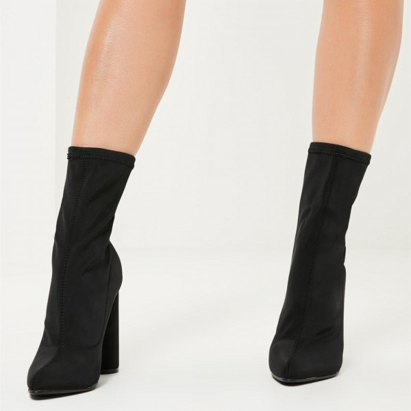 Black Lycra Sock Boots Cylindrical Heel Fashion Ankle Booties image 3