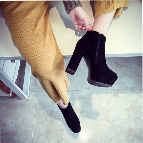 Fashion Black Vintage Boots Block Heel Suede Ankle Boots image 4