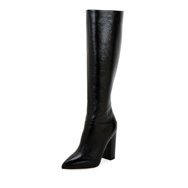 Black Chunky Heel Boots Pointy Toe Knee High Boots image 1