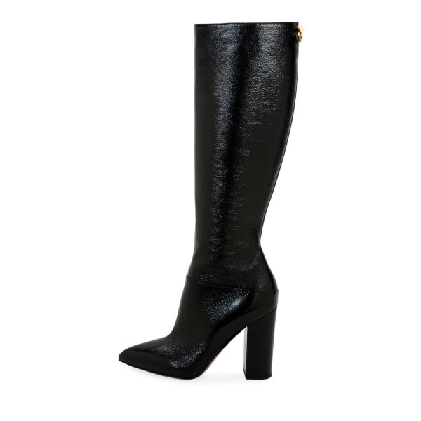 Black Chunky Heel Boots Pointy Toe Knee High Boots image 4