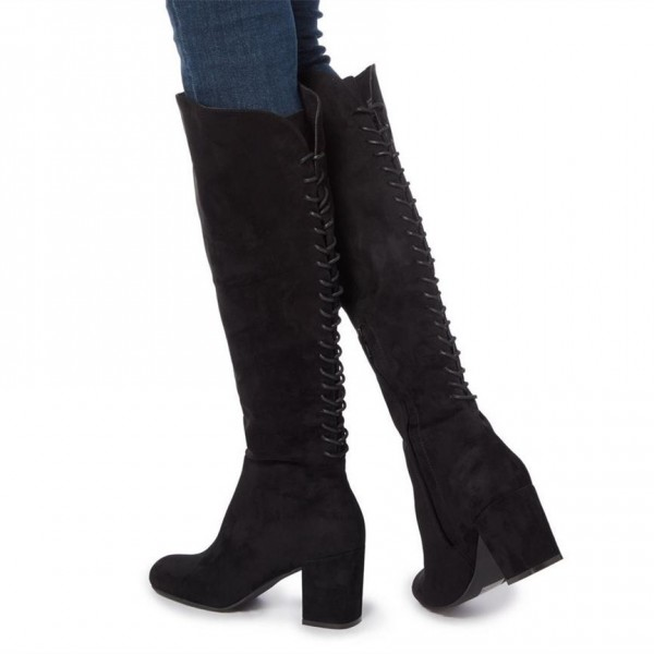 Black Chunky Heels Boots Round Toe Back Lace up Knee-high Boots image 1