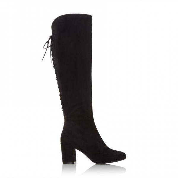 Black Chunky Heels Boots Round Toe Back Lace up Knee-high Boots image 2