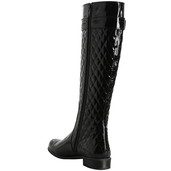 Black Tall Boots Round Toe Patent Leather Quilted Flat Knee Boots image 2