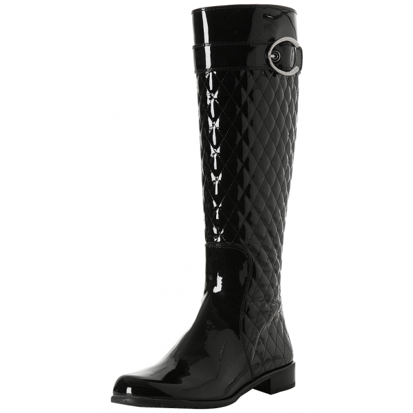 Black Tall Boots Round Toe Patent Leather Quilted Flat Knee Boots image 1