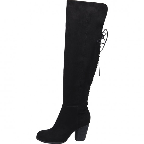 7d9c6411303 Black Chunky Heels Boots Suede Round Toe Lace Up Thigh High Boots image 1  ...