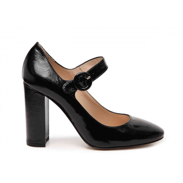 Black Chunky Heels Mary Jane Shoes Square Toe Pumps for Office Lady image 3