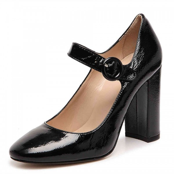 240e036898a1 Black Chunky Heels Mary Jane Shoes Square Toe Pumps for Office Lady image 1  ...
