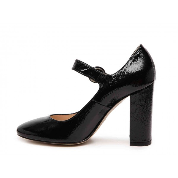 Black Chunky Heels Mary Jane Shoes Square Toe Pumps for Office Lady image 2
