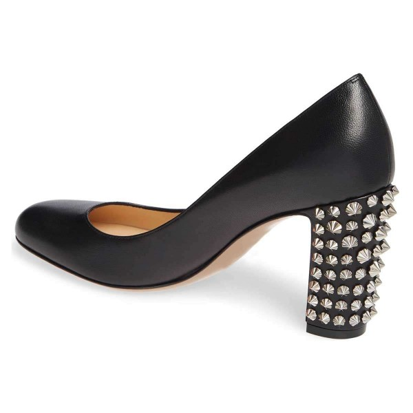 Black Chunky Heels Pumps with Studs image 3