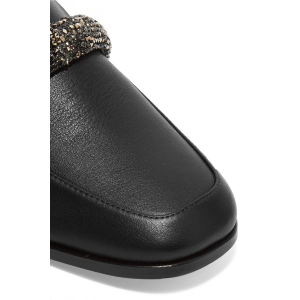 Black Chunky Heels Rhinestone Loafers for Women image 4