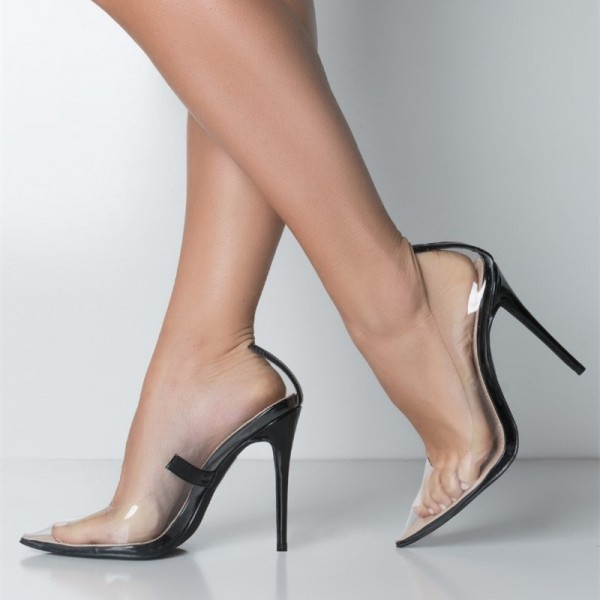 Black Transparent Clear Pumps Pointy Toe Stiletto Heels Pumps image 1