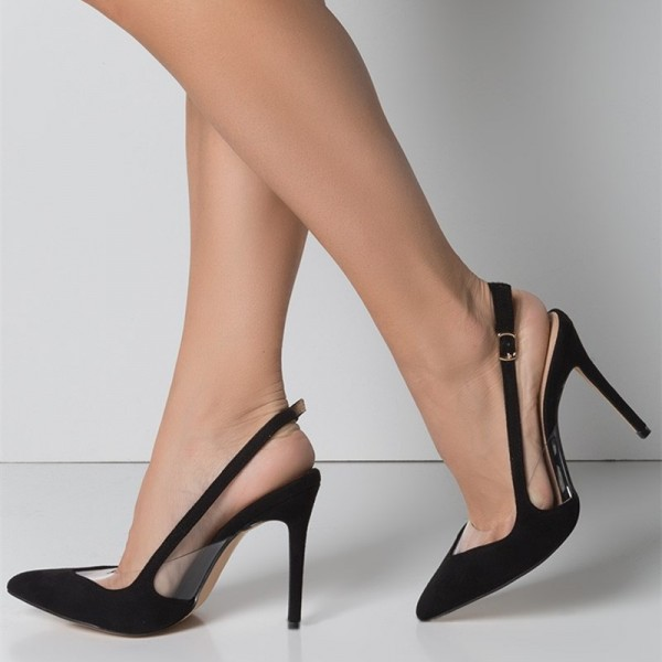Black Clear Heels Slingback Pumps Pointy Toe Stiletto Heels for Women image 1