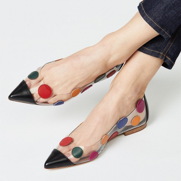 Multi Color Clear Shoes Polka Dots Pointed Toe Flats image 1