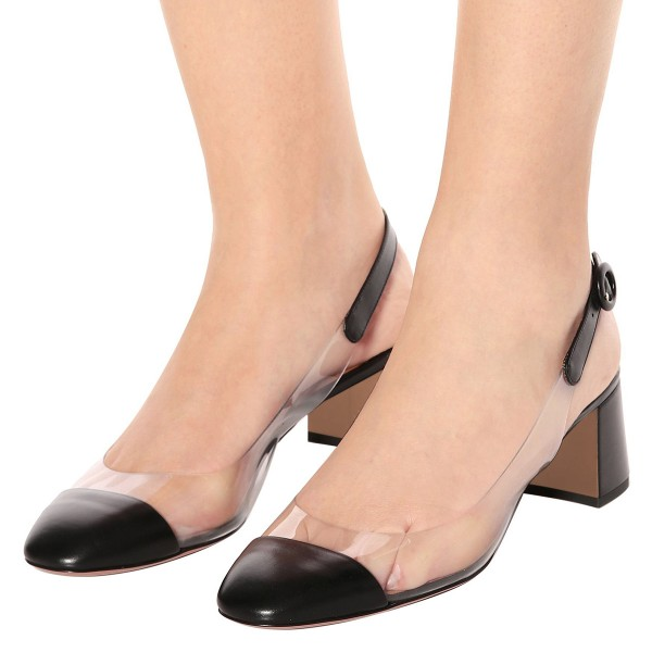 Black Clear Slingback Block Heels Pumps image 3