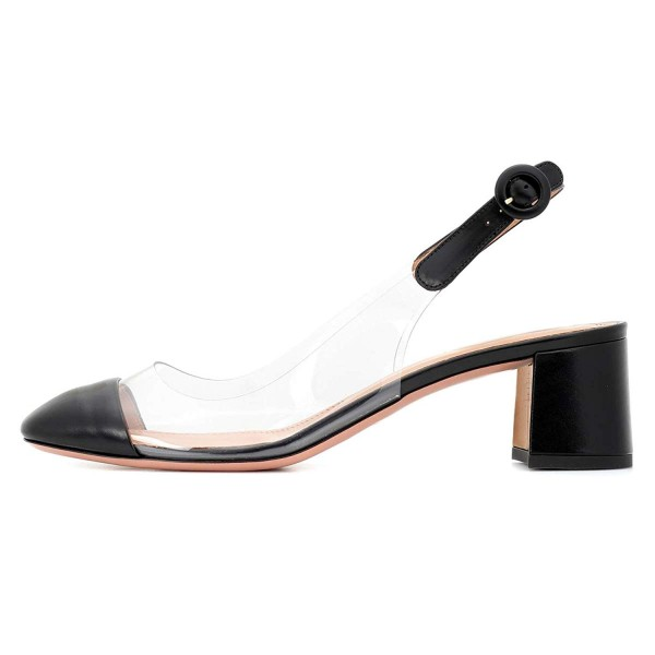 Black Clear Slingback Block Heels Pumps image 4
