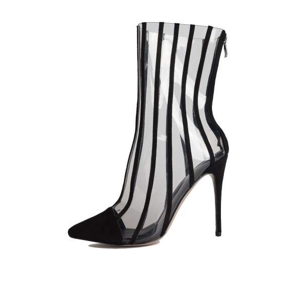 a68a07bb863f7 Black Clear Stripes Pointy Toe Stiletto Heel Ankle Booties for Party ...
