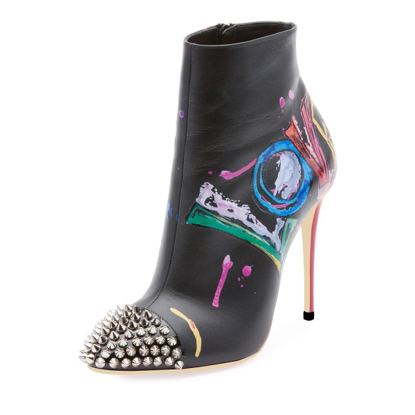 Black Colorful Doodles Rivets Stiletto Heel Ankle Booties image 1