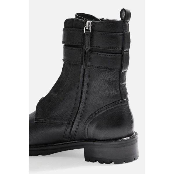 Black Combat Boots Lace Up Buckle Ankle Boots image 2