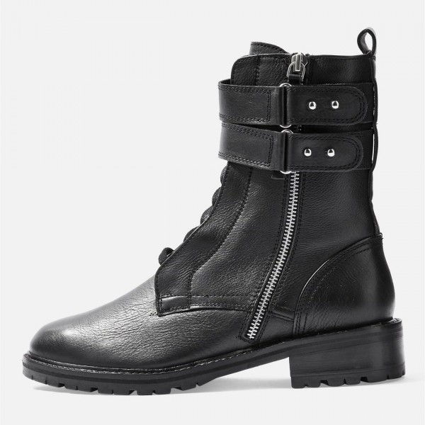 Black Combat Boots Lace Up Buckle Ankle Boots image 3