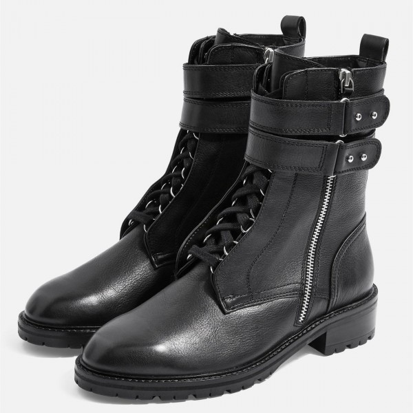 Black Combat Boots Lace Up Buckle Ankle Boots image 1