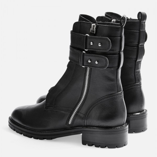 Black Combat Boots Lace Up Buckle Ankle Boots image 4