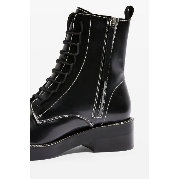 Black Combat Boots Lace Up Round Toe Ankle Boots image 3