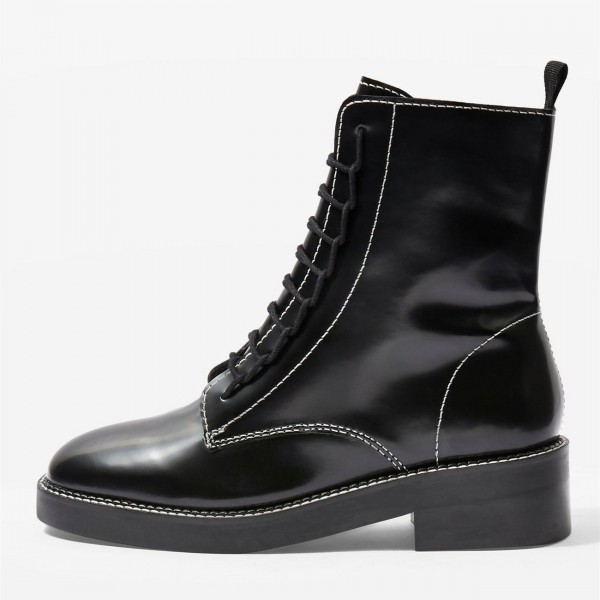 Black Combat Boots Lace Up Round Toe Ankle Boots image 2