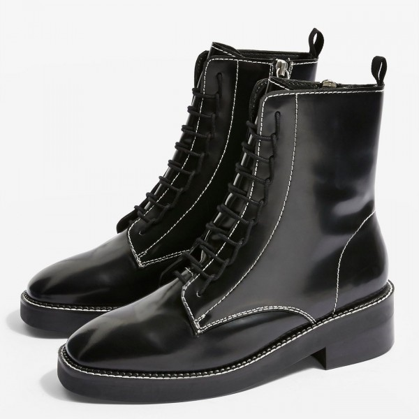 Black Combat Boots Lace Up Round Toe Ankle Boots image 1