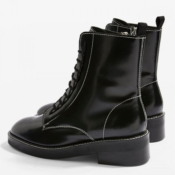 Black Combat Boots Lace Up Round Toe Ankle Boots image 4