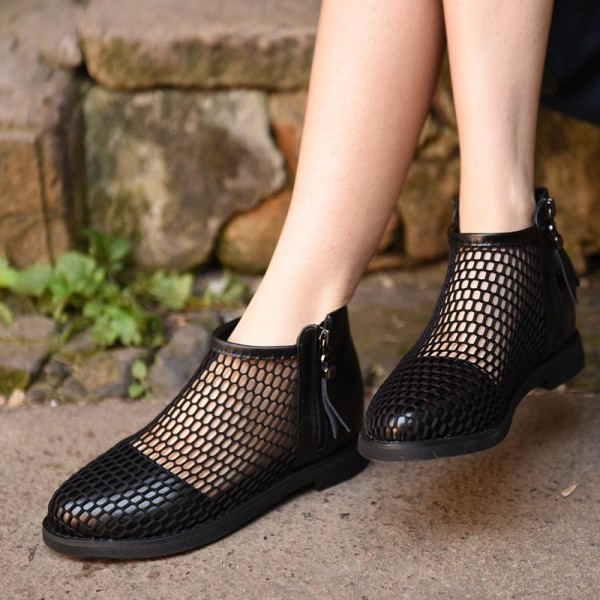 Black Summer Boots Round Toe Net Flat Fashion Short Boots image 2