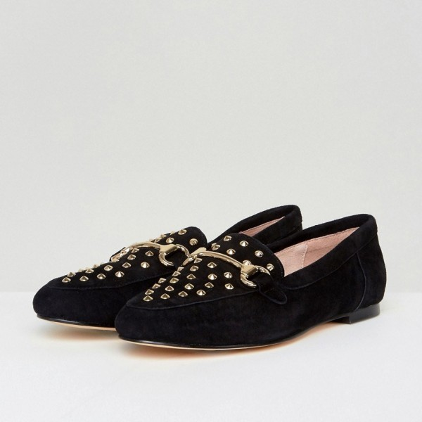 Black Comfortable Flats Suede with Rivets Loafers for Women image 1
