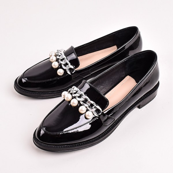 Black Patent Leather Pearls Loafers for Women Vintage Shoes image 1