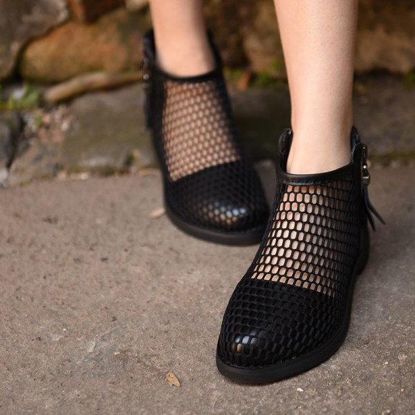 Black Summer Boots Round Toe Net Flat Fashion Short Boots image 1