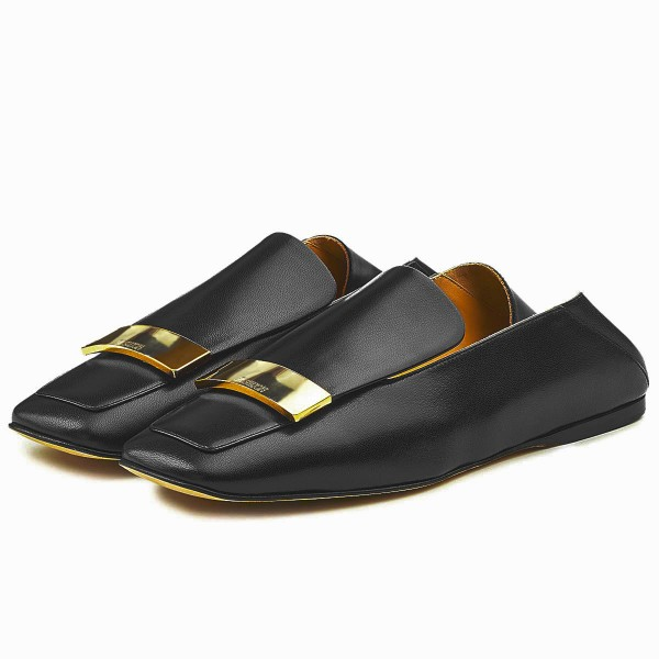 Black Loafer Mules Square Toe Office Flat Loafers for Women image 1