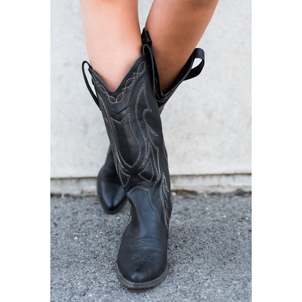 Black Cowgirl Boots Vintage Chunky Heel Mid-calf Boots for Women image 6