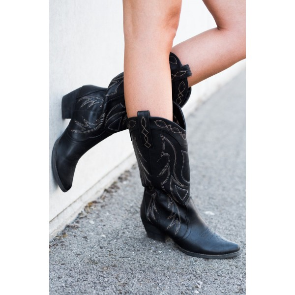 Black Cowgirl Boots Vintage Chunky Heel Mid-calf Boots for Women image 2