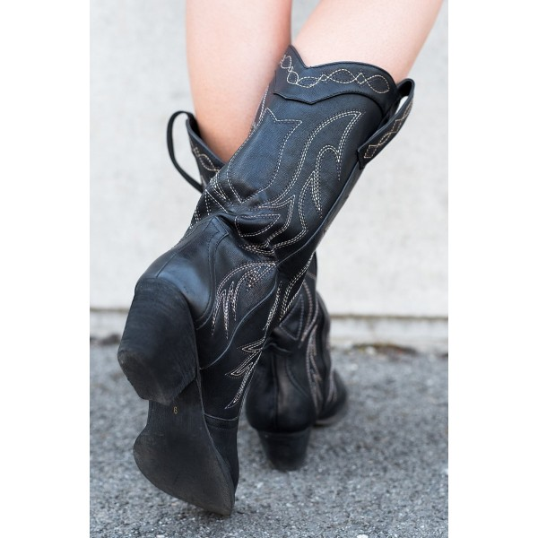 Black Cowgirl Boots Vintage Chunky Heel Mid-calf Boots for Women image 3