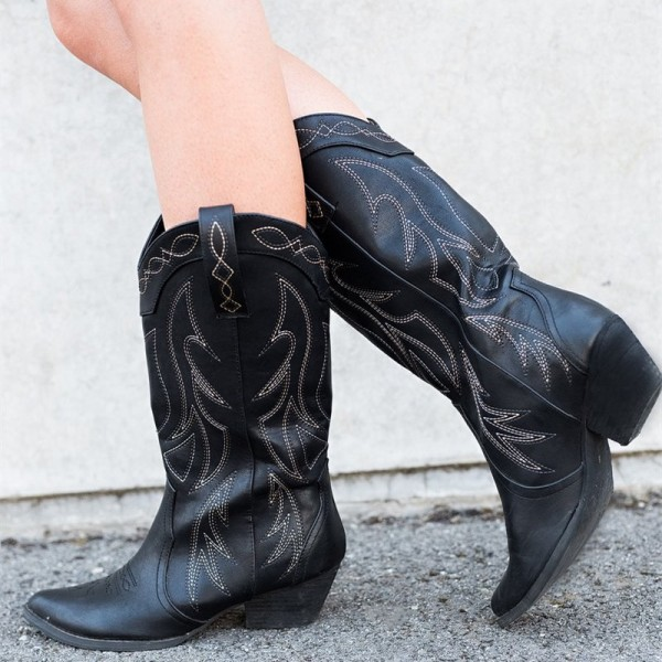 Black Cowgirl Boots Vintage Chunky Heel Mid-calf Boots for Women image 1