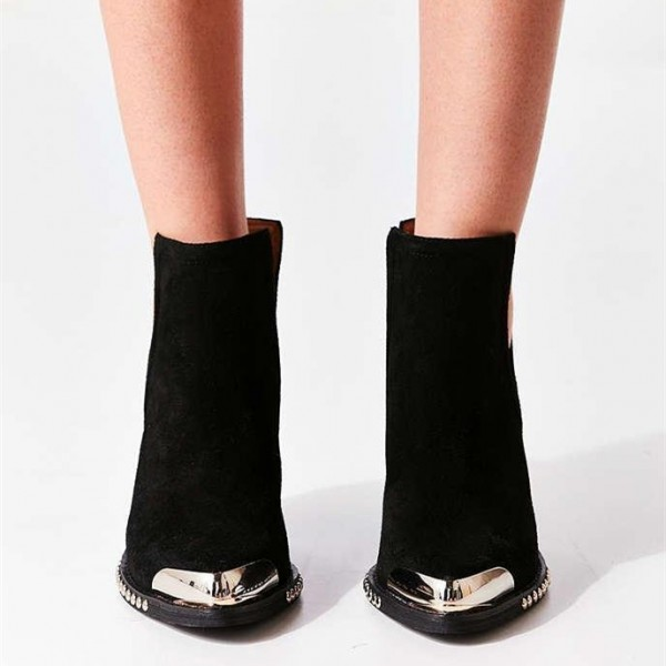 Black Cut Out Boots Suede Metal Pointy Toe Studs Short Boots image 5