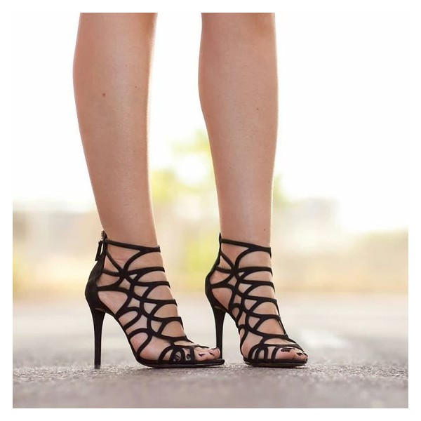 Black Cut out Caged Stiletto Heels Gladiator Sandals Peep Toe Sandals image 2
