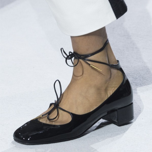 Black Cute Patent Leather Chunky Heels Square Toe Strappy School Shoes image 1
