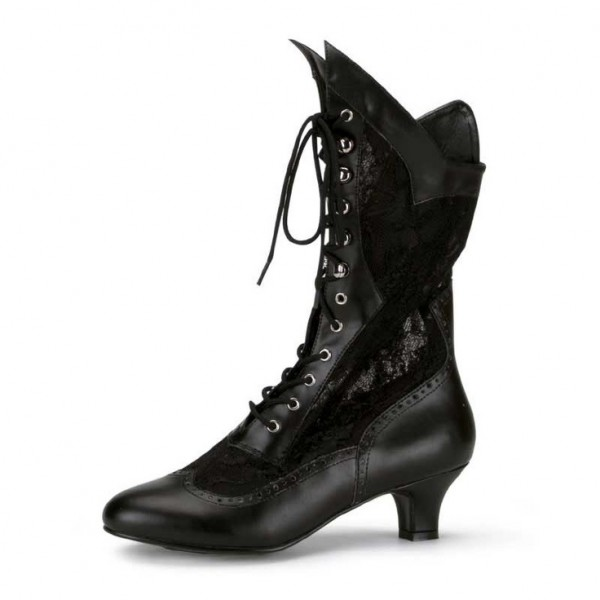 Black Lace Wingtip Boots Front Lace up Vintage Mid Calf Witch Boots image 1