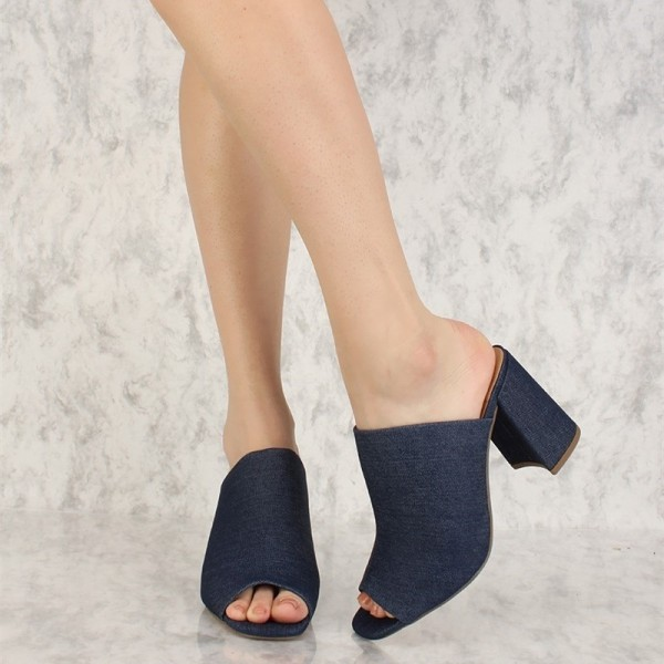 Navy Denim Peep Toe Chunky Heel Mules Sandals image 1