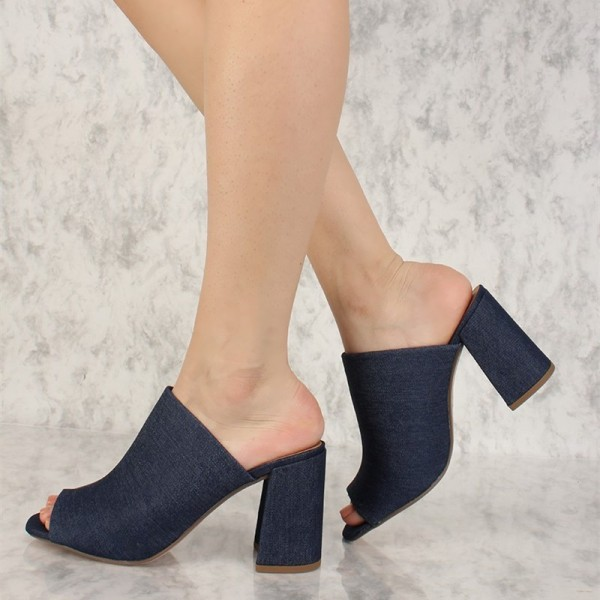 Navy Denim Peep Toe Chunky Heel Mules Sandals image 2